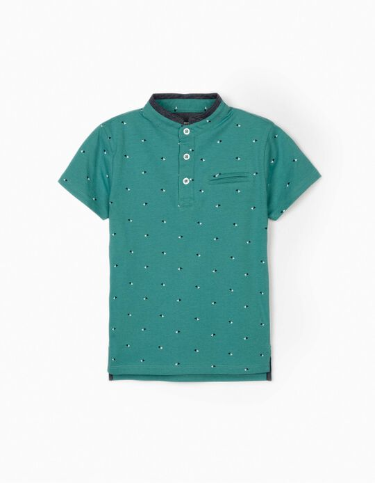 Polo Shirt with Mandarin Collar for Boys, Teal