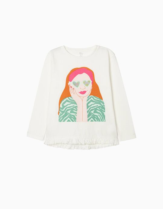 T-shirt Manga Comprida para Menina 'Love', Branco
