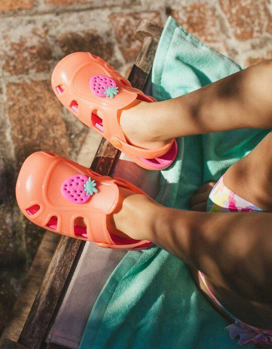 Sandales sabots fille 'Strawberry', orange/rose