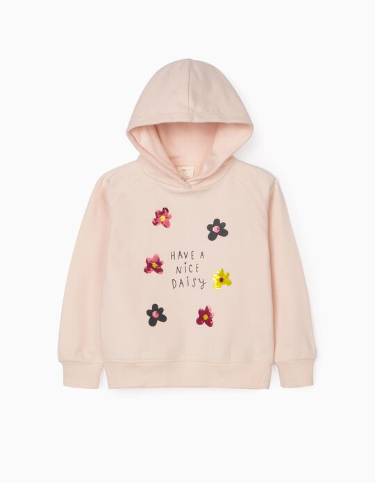 Sweatshirt com Capuz para Menina 'Daisy', Rosa