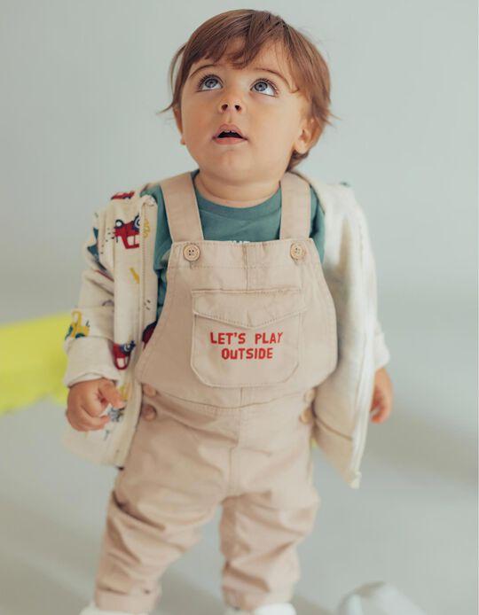 Jardineiras para Bebé Menino 'Let's Play', Bege