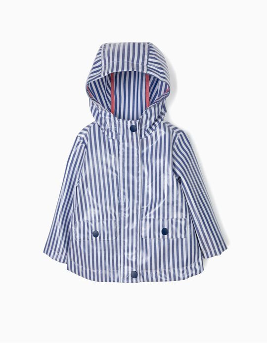 Parka Impermeável para Bebé Menina Riscas, Azul e Branco