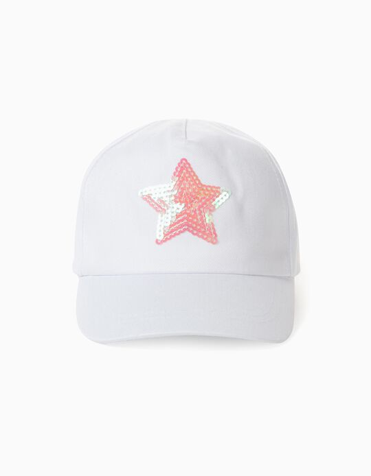 Cap for Girls, 'Star', White