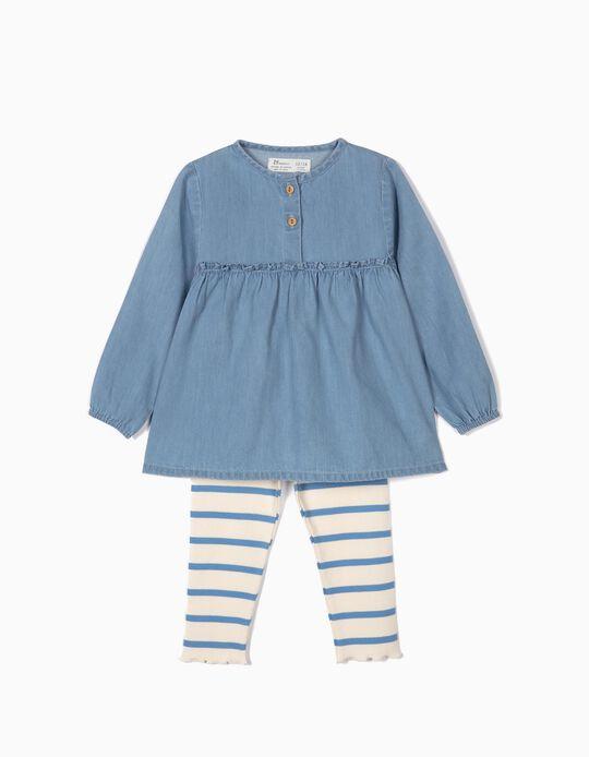 Blusa Denim e Leggings Caneladas para Bebé Menina, Azul e Branco