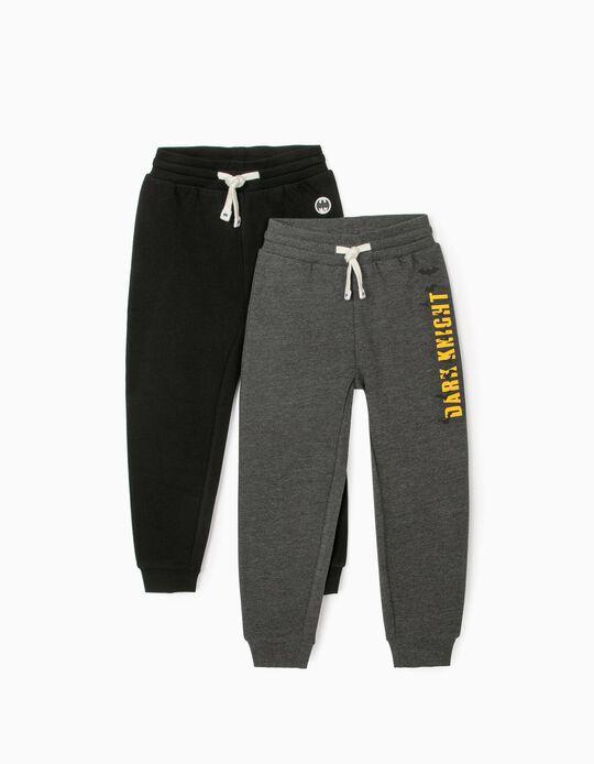 2 Pantalons de Sport Gaçron 'Batman', Gris/Noir