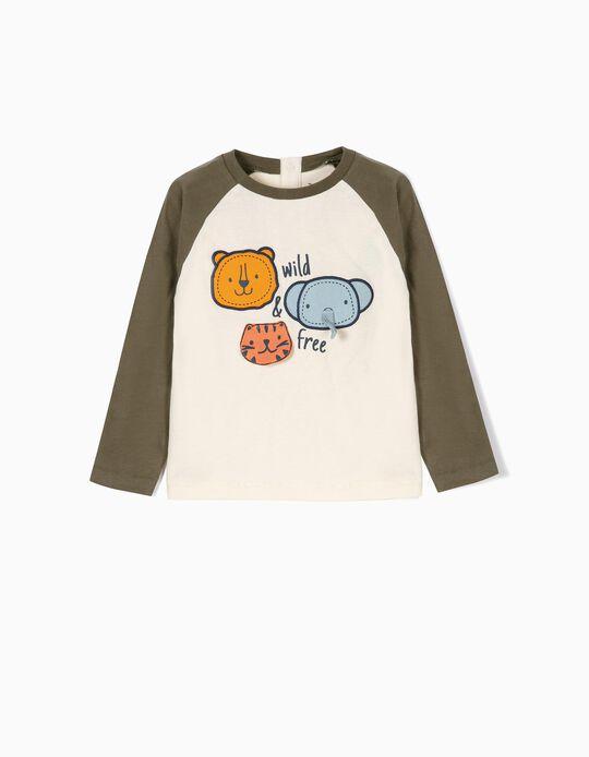 T-shirt Manga Comprida para Bebé Menino 'Wild & Free', Branco e Verde