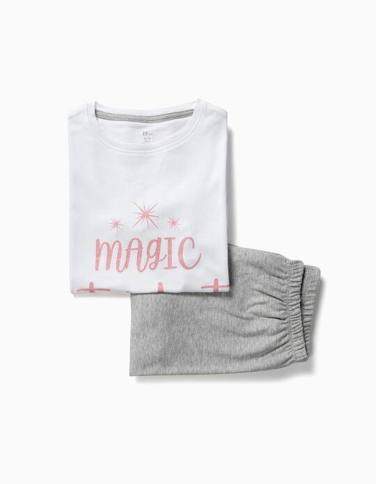 Pijama para Menina 'Magic Stardust', Branco e Cinza