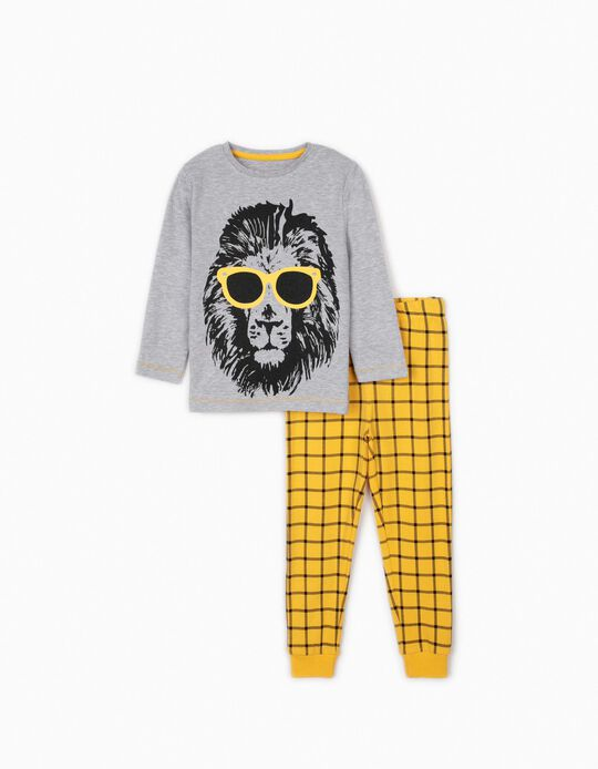 Pyjamas for Boys, 'Cool Lion', Grey/Yellow