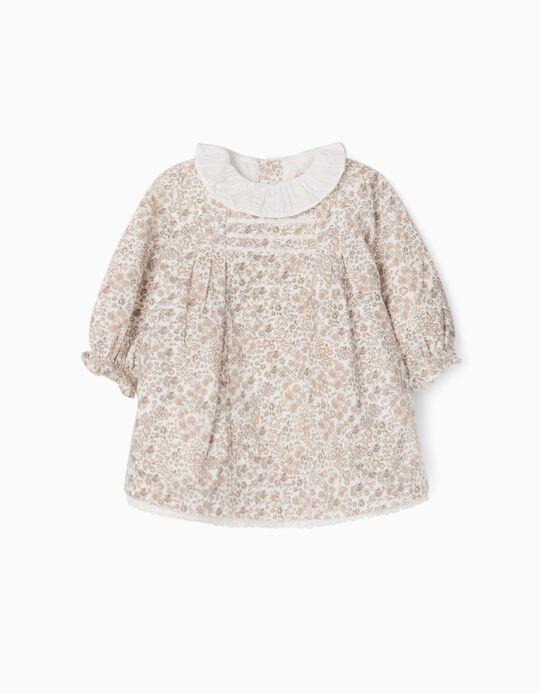 Corduroy Dress for Newborn Girls 'Flowers', White/Beige
