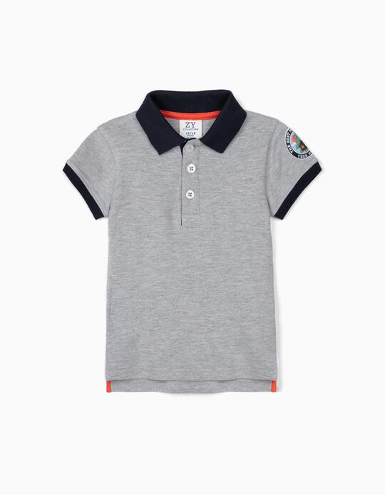 Short Sleeve Polo Shirt for Baby Boys, 'Tree House', Grey