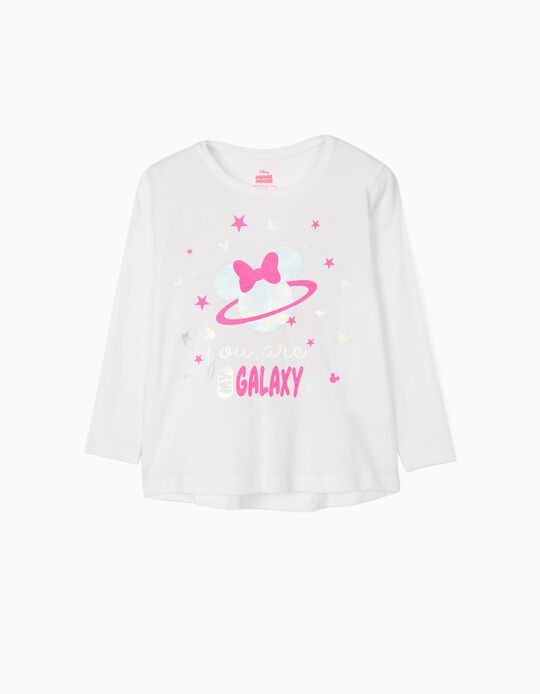 Long Sleeve Top for Girls, 'Minnie Galaxy', White