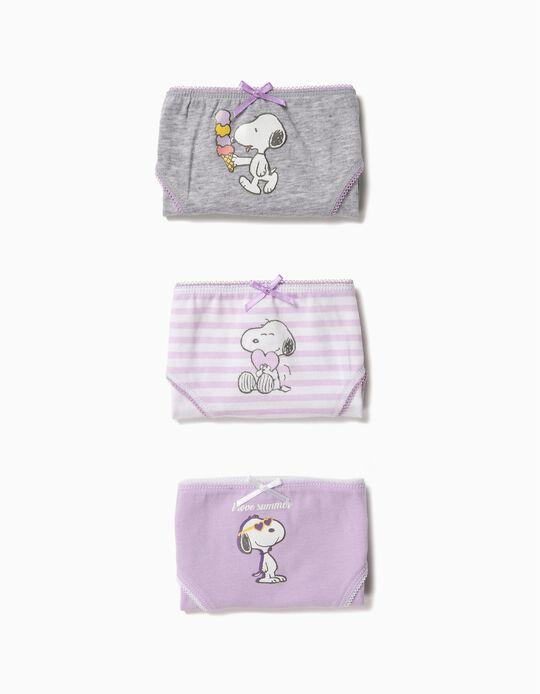 3 Cuecas para Menina 'Snoopy', Lilás