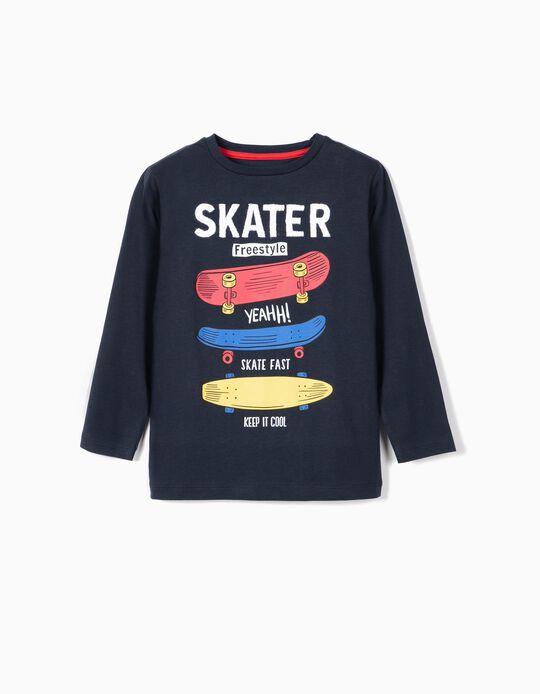 Camiseta de Manga Larga para Niño 'Skater', Azul