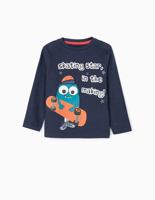 Camiseta de Manga Larga para Bebé Niño 'Skating Star', Azul Oscuro