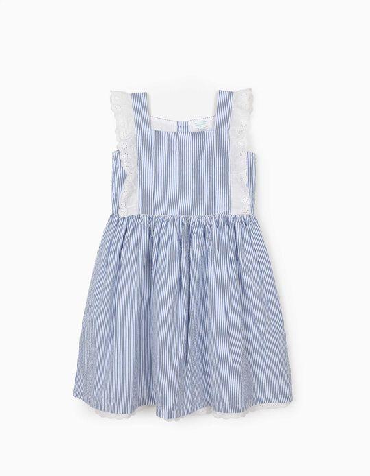 Robe à rayures fille 'B&S', bleu/blanc