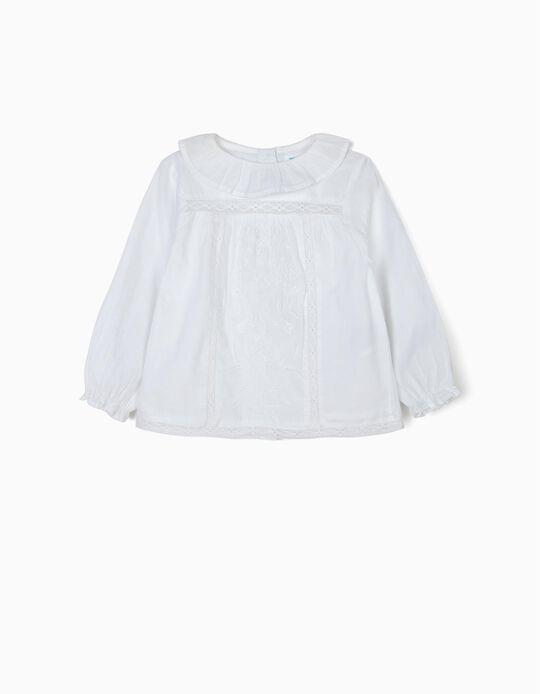 Blusa para Bebé Niña 'B&S' con Encaje y Bordado, Blanco