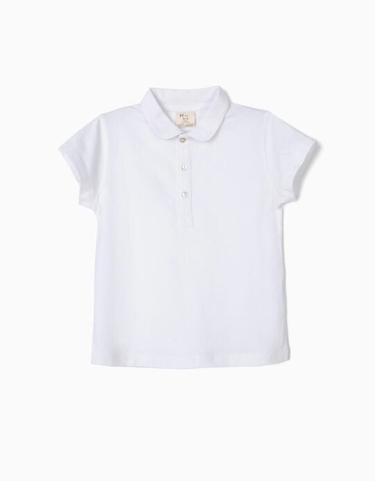 Short Sleeve Polo Shirt for Girls, White