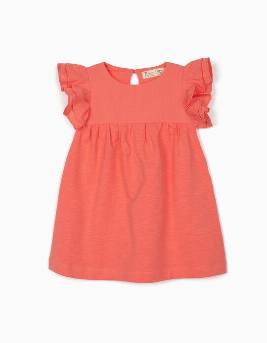 Vestido de Dos Materias para Bebé Niña, Rosa