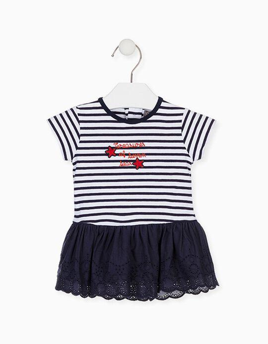 Vestido Combinado para Bebé Menina LOSAN, Azul/Branco