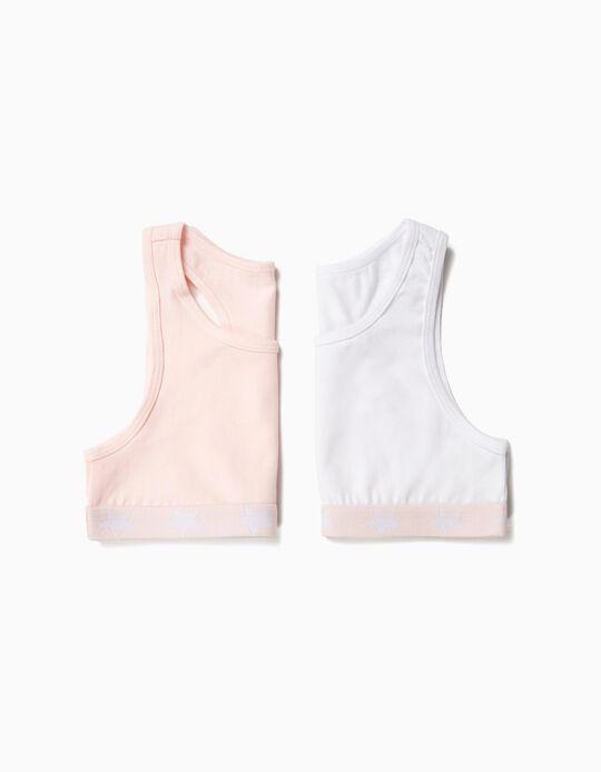 2 Tops para Menina, Rosa e Branco