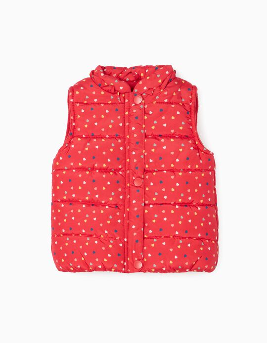 Padded Vest for Baby Girls 'Hearts', Red