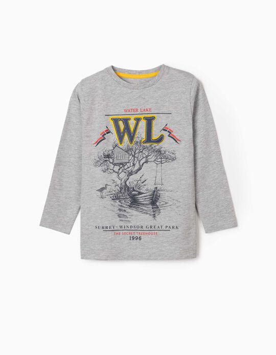 Long Sleeve Top for Boys, 'Water Lake', Grey