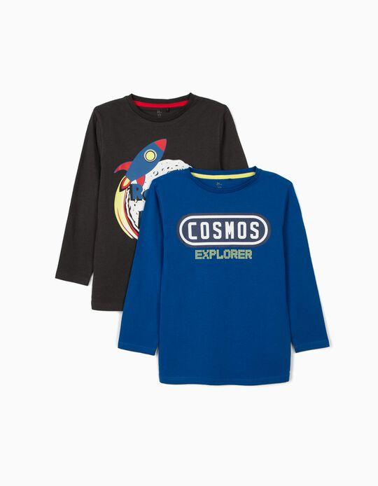 2 T-shirts Manga Comprida para Menino 'Space', Cinza/Azul