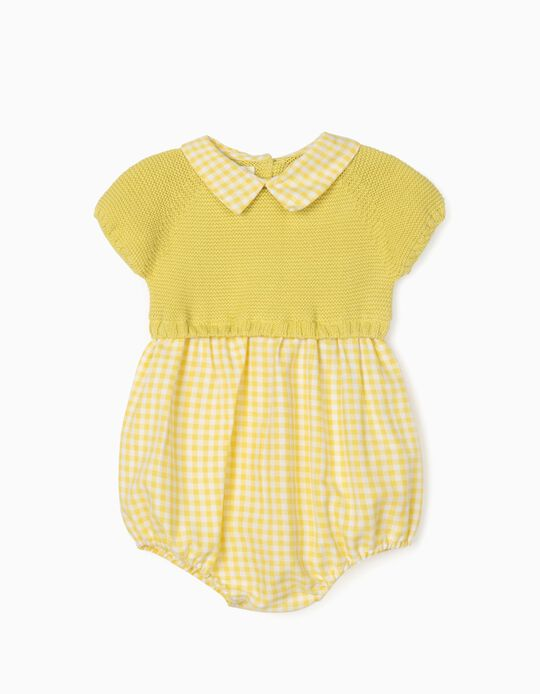 Dual Fabric Jumpsuit for Newborn Baby Boys, Yellow