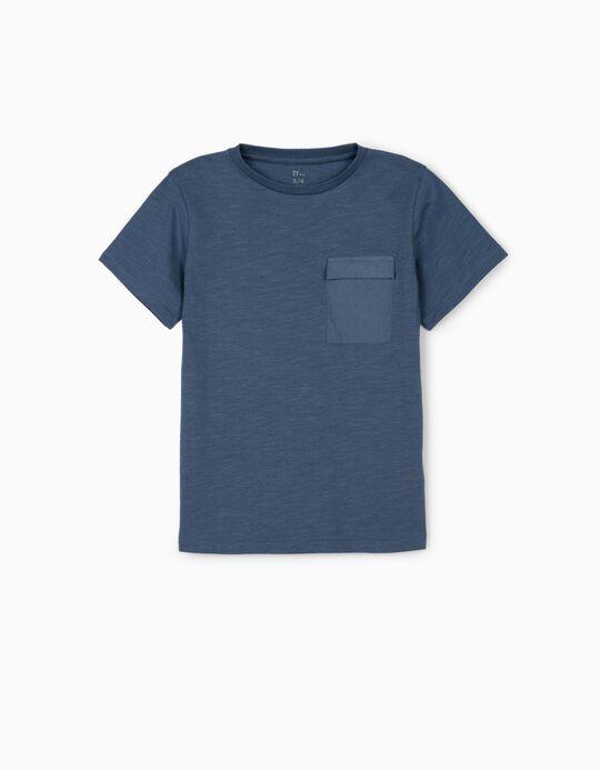 T-shirt avec poche garçon, bleu