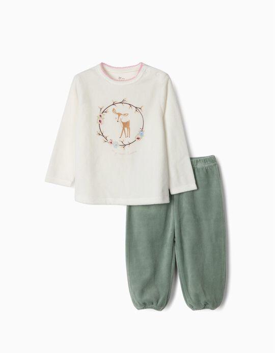 Pijama de Terciopelo para Bebé Niña 'My Sweet Home', Blanco/Verde
