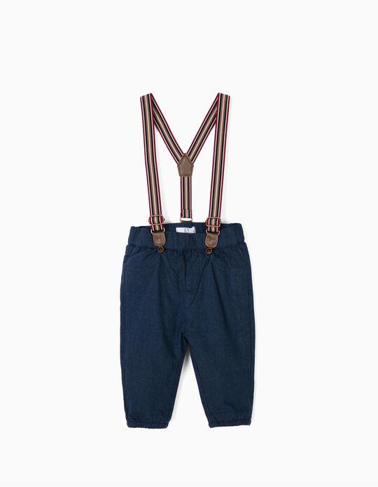 Pantalón con Tirantes para Recién Nacido, Azul Oscuro