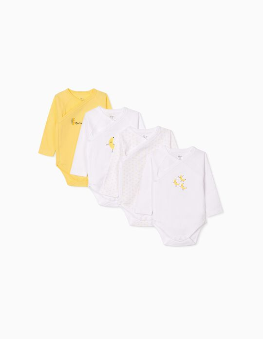 4 Bodies para Bebé 'Banana', Blanco/Amarillo