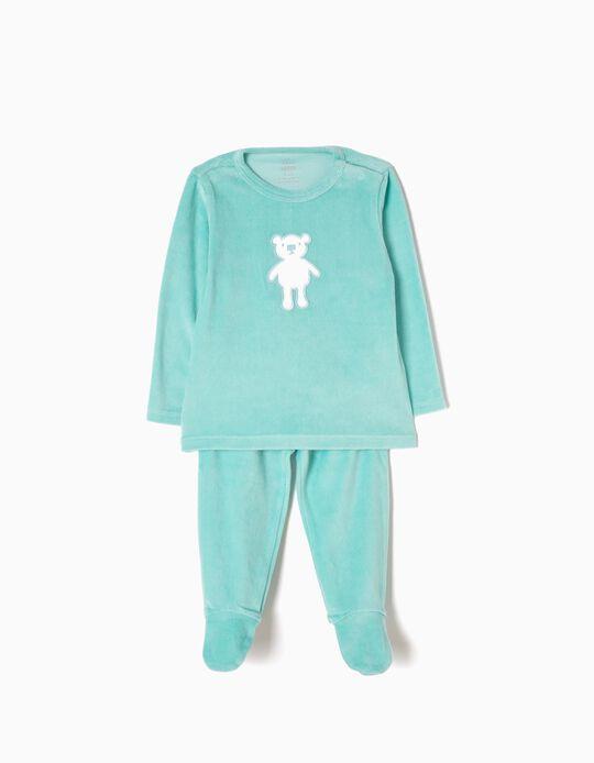 Pijama Veludo com Pés Ursinho Verde Água