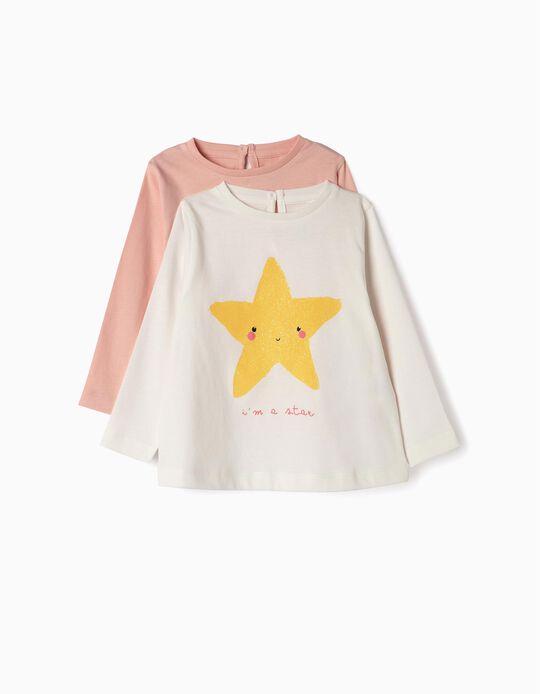 2 T-shirts Manga Comprida para Bebé Menina 'Butterfly', Rosa e Branco