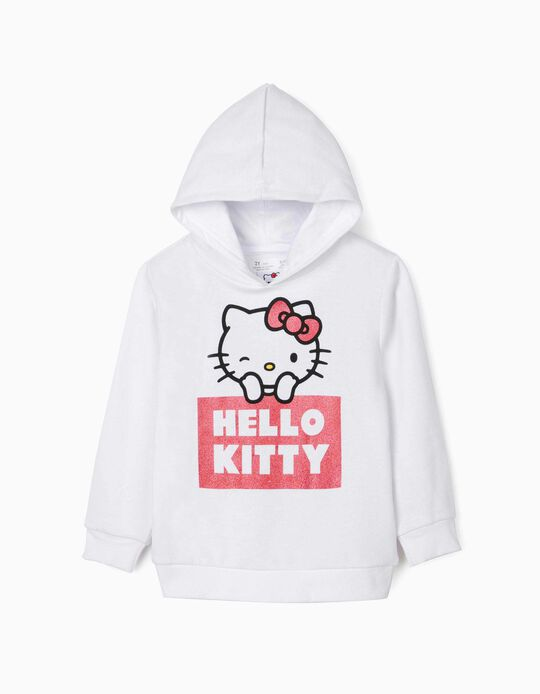 Sweat à capuche fille 'Hello Kitty', blanc