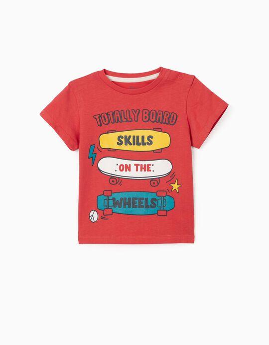 T-shirt para Bebé Menino 'Board', Vermelho