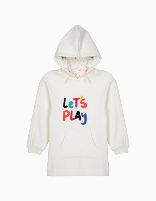 Vestido para Menina 'Let's Play' com Capuz, Branco
