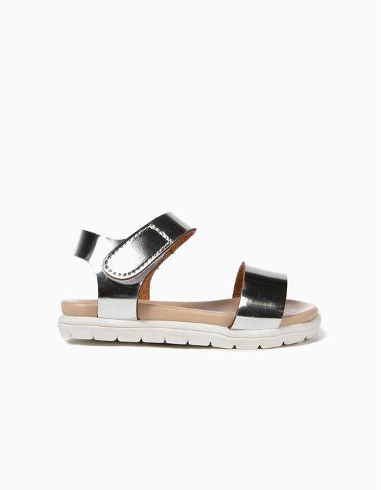 Varnished Sandals for Baby Girls, Silver