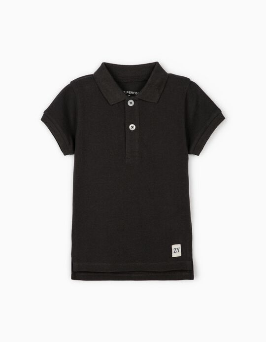 Short Sleeve Polo Shirt for Baby Boys, Dark Grey