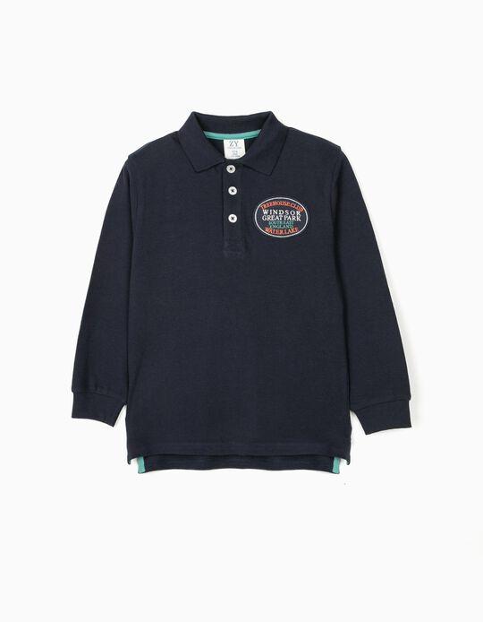 Long Sleeve Piqué Knit Polo Shirt for Boys, 'Windsor', Dark Blue