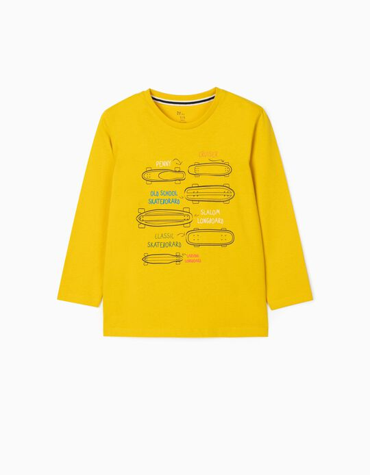 Camiseta de Manga Larga para Niño 'Skate', Amarillo