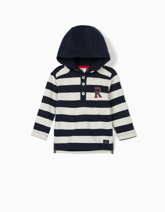 Piqué Knit Hoodie for Baby Boys, 'R', Blue/White