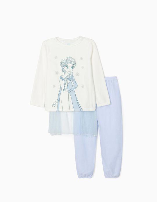 Pijama de Veludo com Capa para Menina 'Elsa', Branco/Azul