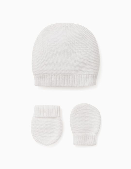 Gorro + Guantes de Punto para Bebé, Blanco