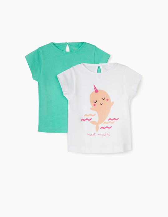 2 T-shirts for Baby Girls, 'Sweet Narwhal', White/Aqua Green