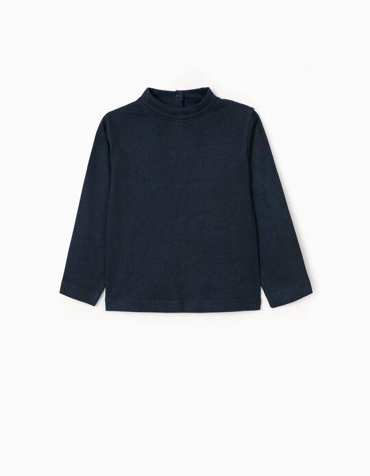 Camiseta de Manga Larga e Cuello Alto para Bebé Niña, Azul Oscuro