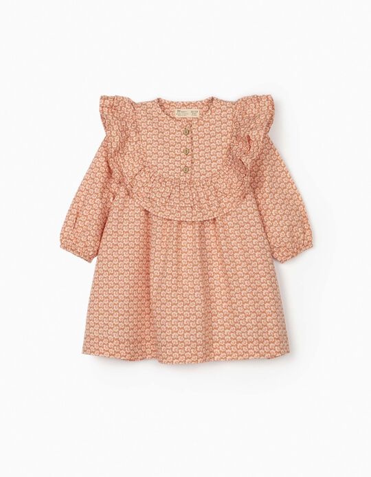 Floral Dress for Baby Girls, Light Brown