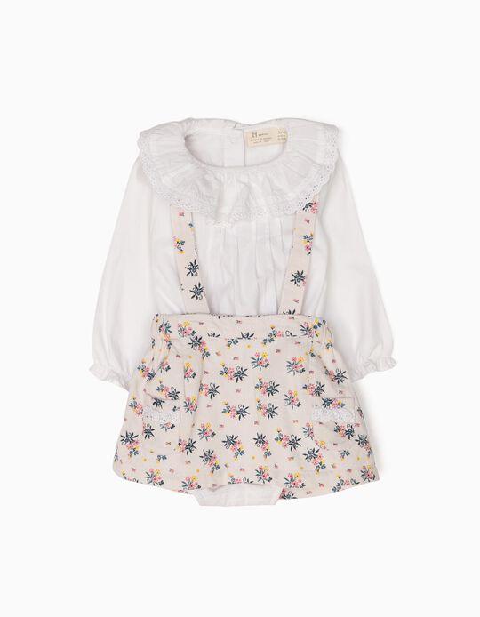Conjunto Body-Blusa y Falda con Peto de Flores