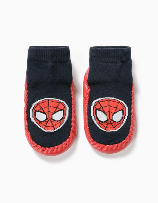 Non-slip Slipper Socks for Boys, 'Spider-man', Blue/Red