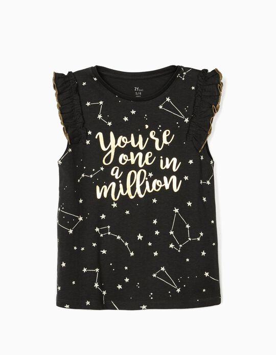 Sleeveless T-shirt for Girls, 'One in a Million', Dark Grey